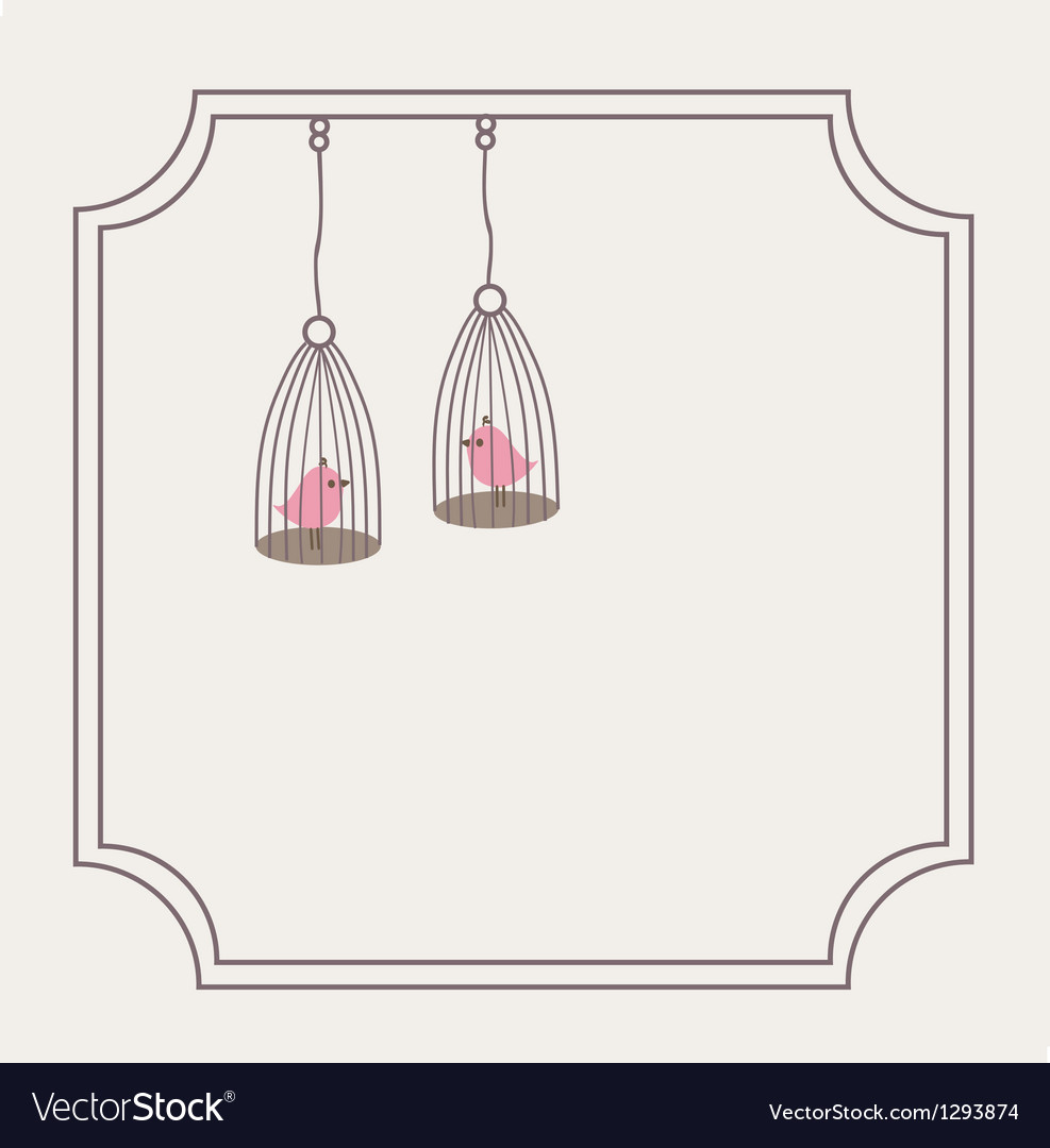 Cute love birds in birdcage vector | Price: 1 Credit (USD $1)