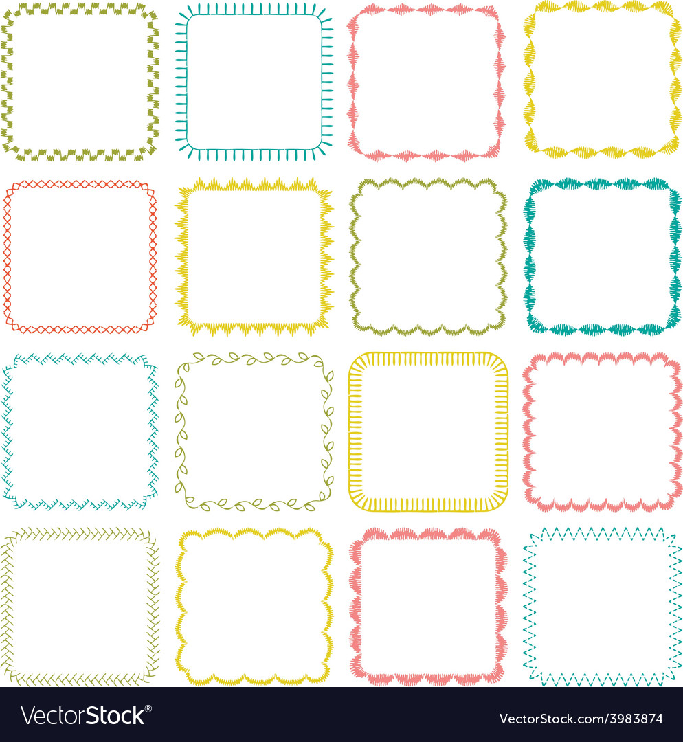 Embroidered square frames vector | Price: 1 Credit (USD $1)