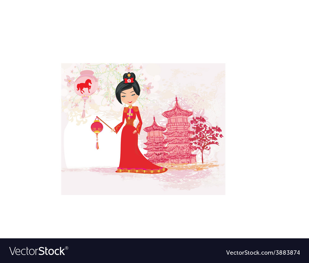 Geisha celebrated chinese new year vector | Price: 1 Credit (USD $1)