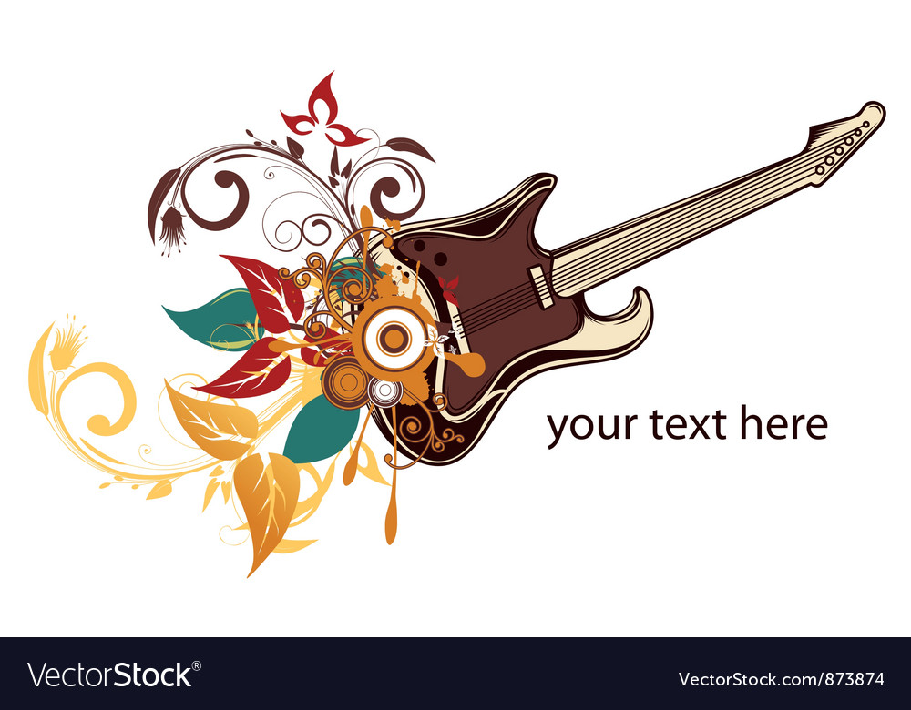 Guitar with floral vector | Price: 1 Credit (USD $1)