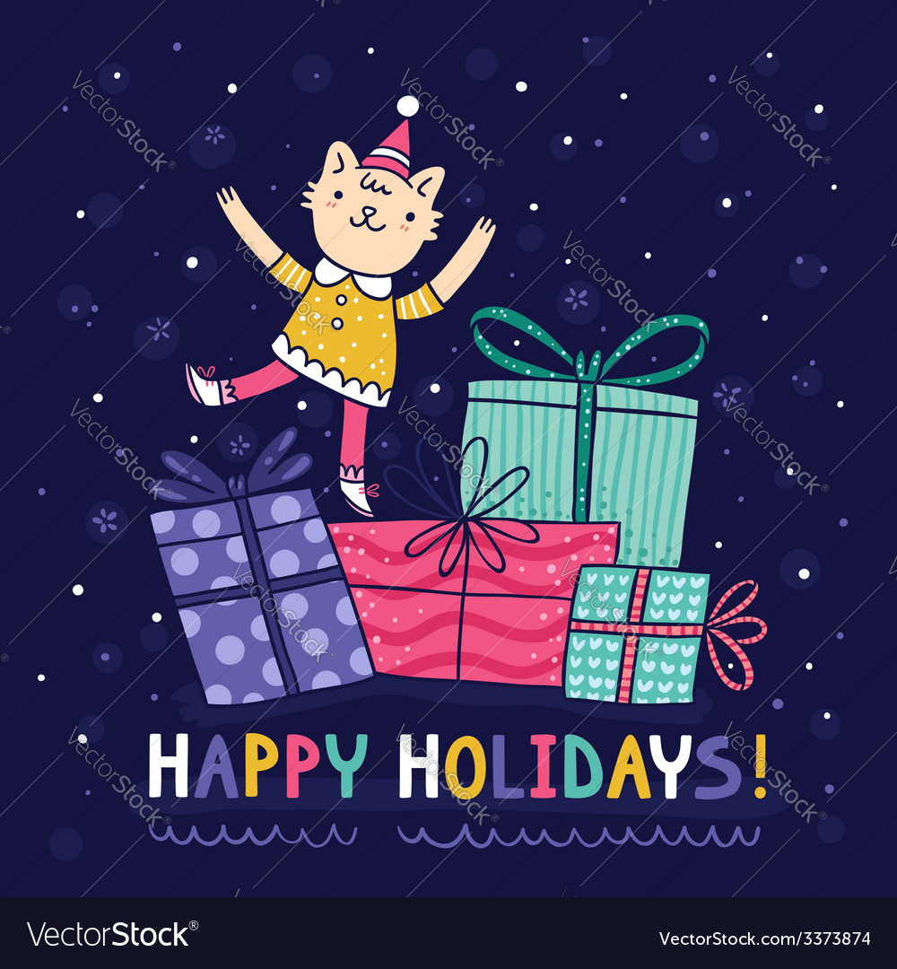 Happy holidays bright colorful card vector | Price: 1 Credit (USD $1)