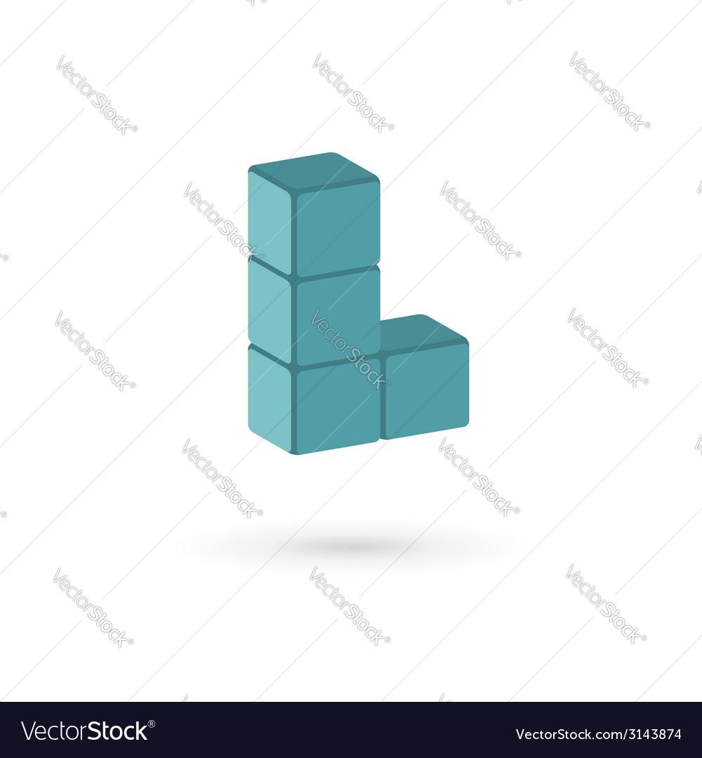 Letter l cube logo icon vector | Price: 1 Credit (USD $1)