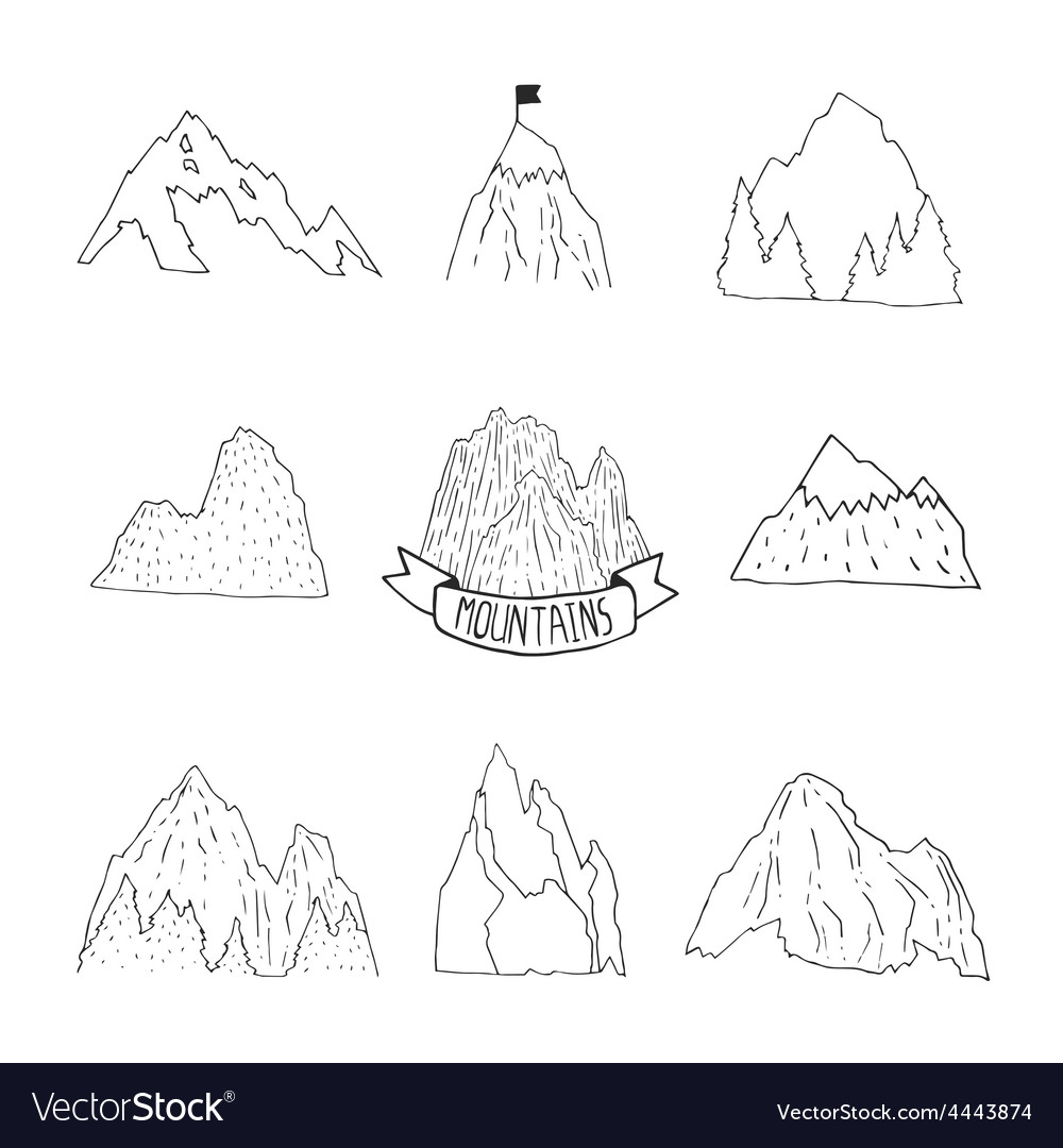 Mountains collection hand drawn mountain set vector