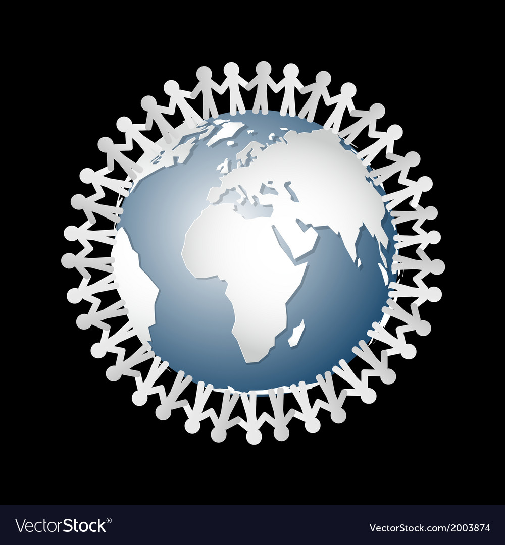 People holding hands around globe vector | Price: 1 Credit (USD $1)