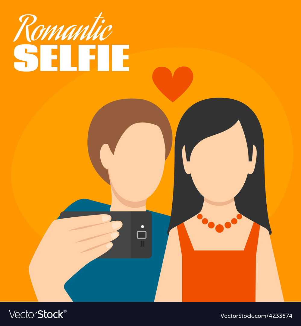 Romantic selfie poster vector | Price: 1 Credit (USD $1)