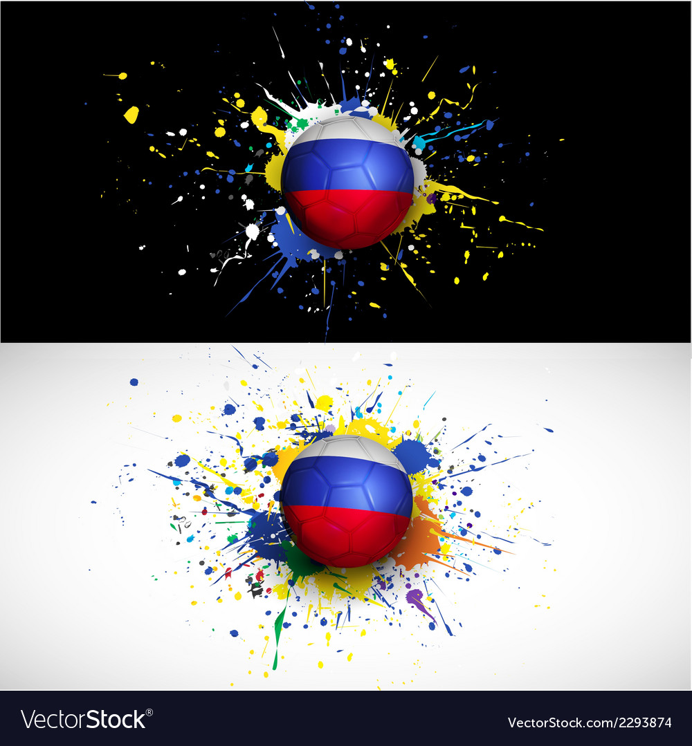 Russia flag with soccer ball dash on colorful vector | Price: 1 Credit (USD $1)