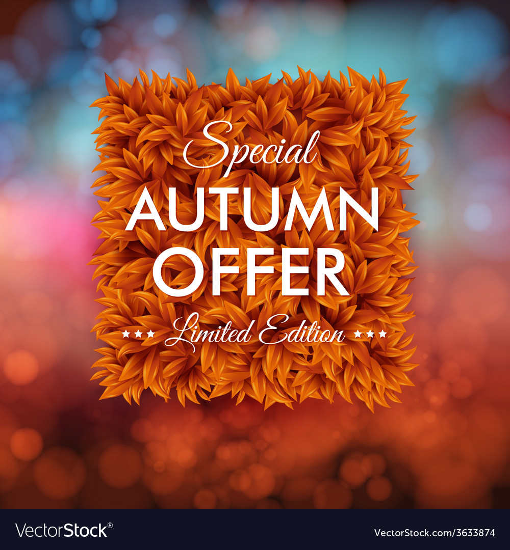 Special autumn offer advertisement poster blurred vector | Price: 1 Credit (USD $1)