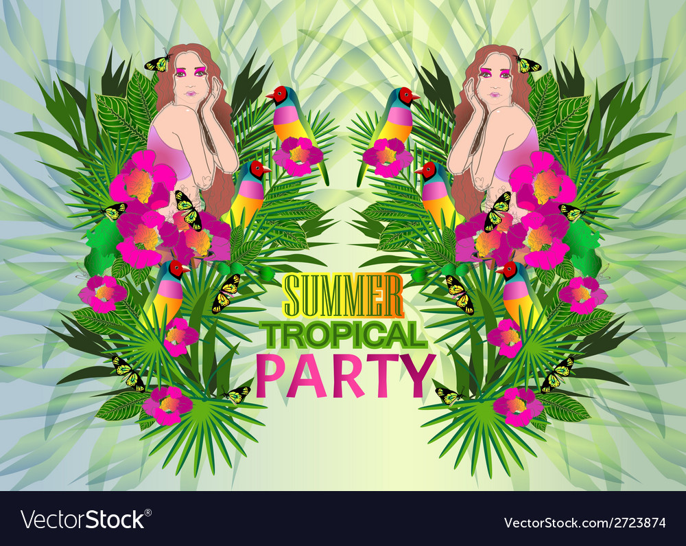 Tropical flowers and leaves and beautiful woman vector | Price: 1 Credit (USD $1)
