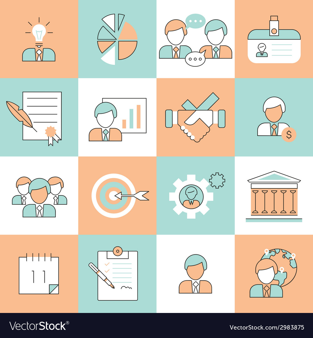 Business management icons flat line vector | Price: 1 Credit (USD $1)