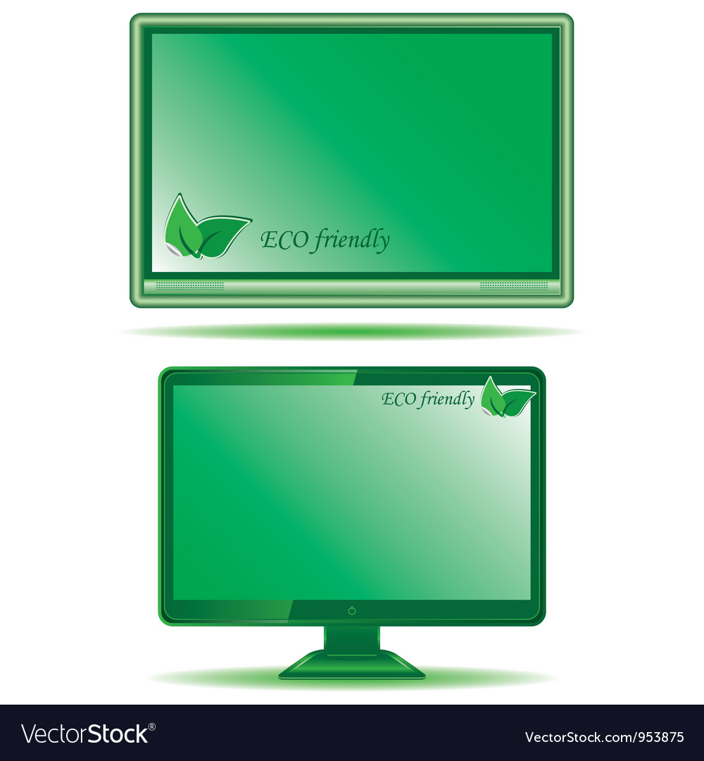 Green monitor vector | Price: 1 Credit (USD $1)