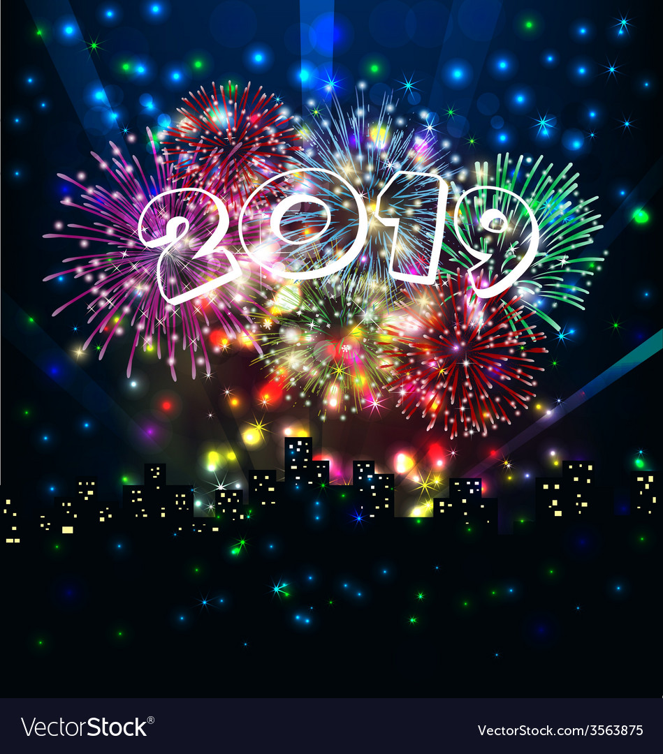 Happy new year with firework vector   Price: 1 Credit (USD $1)