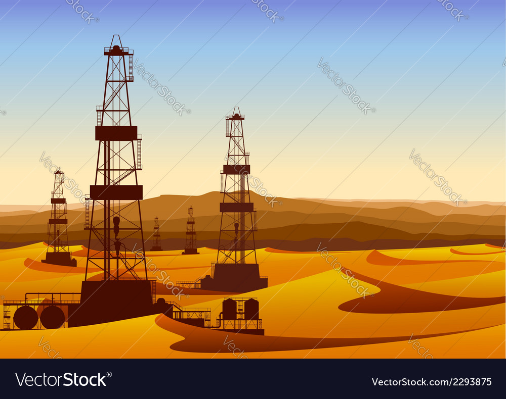 Landscape whith oil rigs in barren desert with vector | Price: 1 Credit (USD $1)