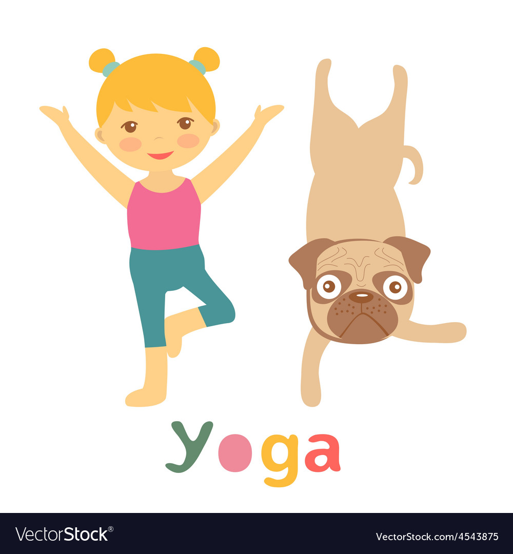 Little girl and pug doing yoga vector | Price: 1 Credit (USD $1)