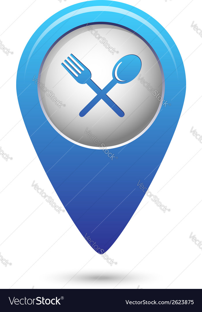 Map pointer with fork and spoon icon vector | Price: 1 Credit (USD $1)