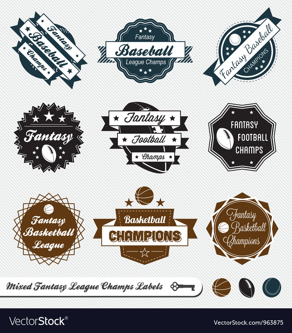 Mixed fantasy sports labels vector | Price: 1 Credit (USD $1)