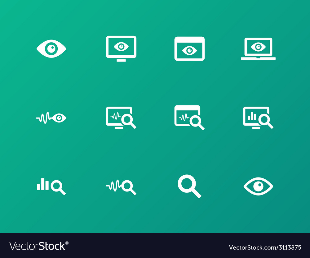 Monitoring icons on green background vector | Price: 1 Credit (USD $1)
