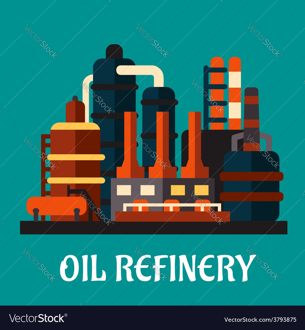 Oil refinery factory in flat style vector | Price: 1 Credit (USD $1)