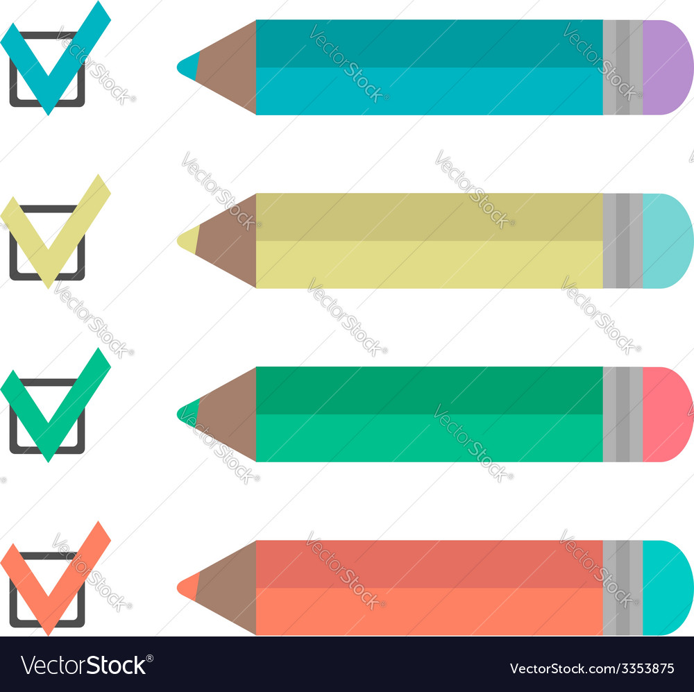 Set of pencils and check marks vector | Price: 1 Credit (USD $1)