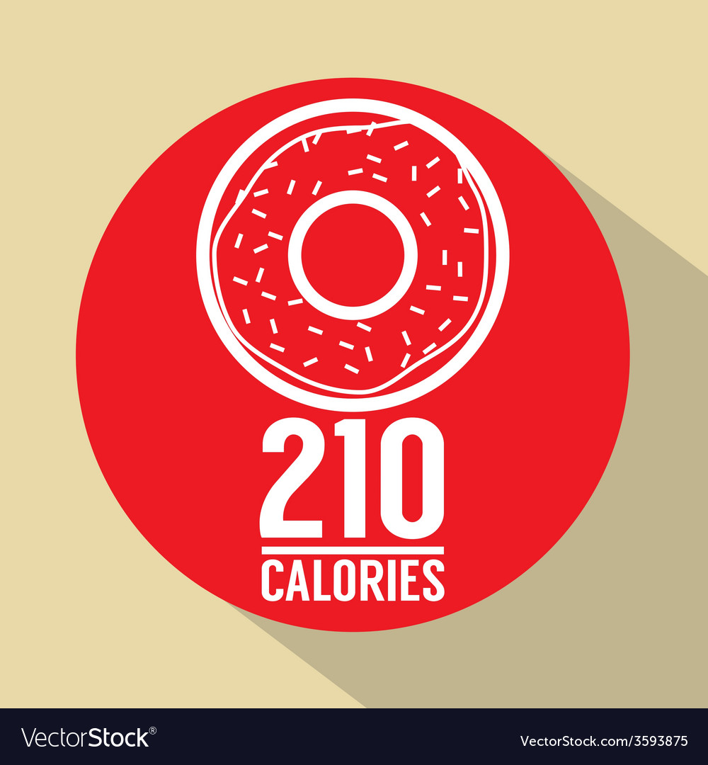 Single donut 210 calories symbol vector | Price: 1 Credit (USD $1)