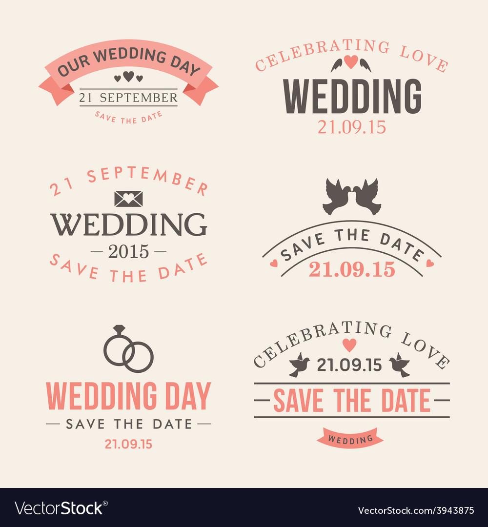 Wedding set of label badges stamp and design vector | Price: 1 Credit (USD $1)