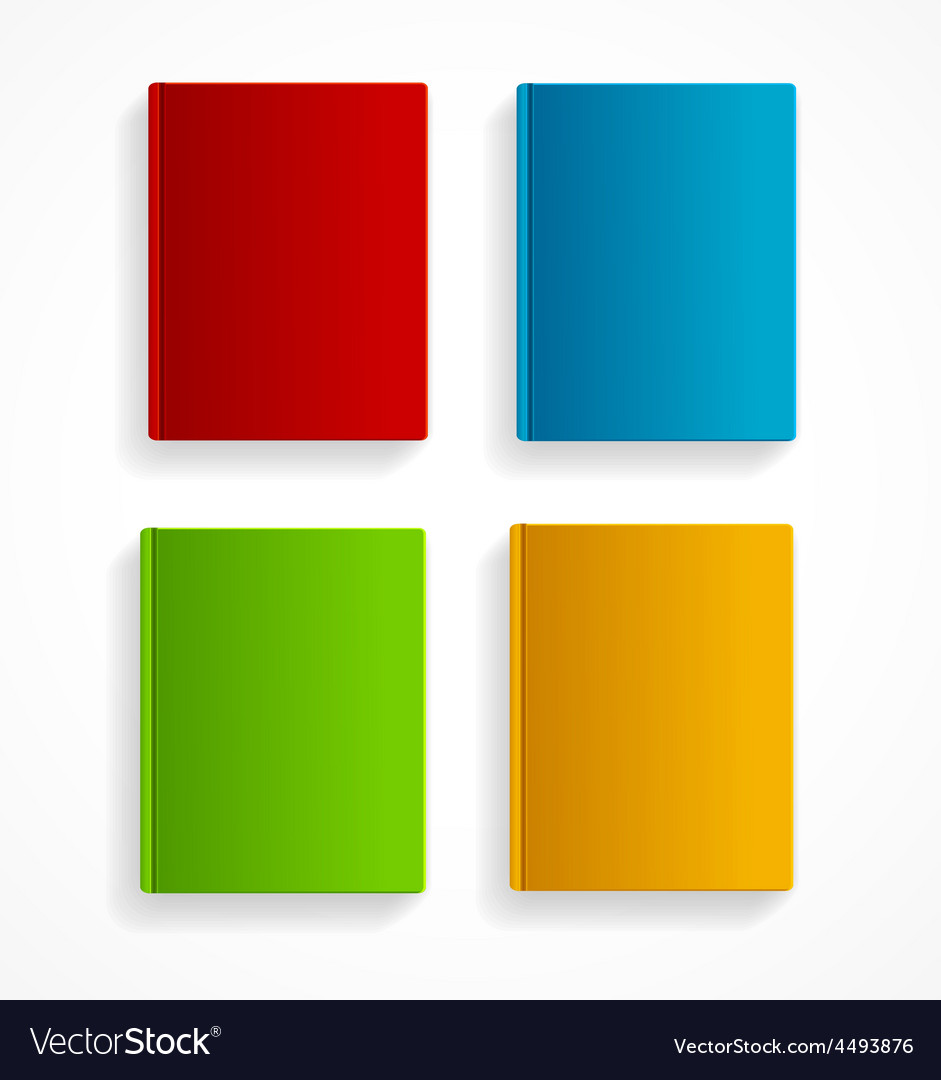 Books colorful blank set flat design vector | Price: 1 Credit (USD $1)