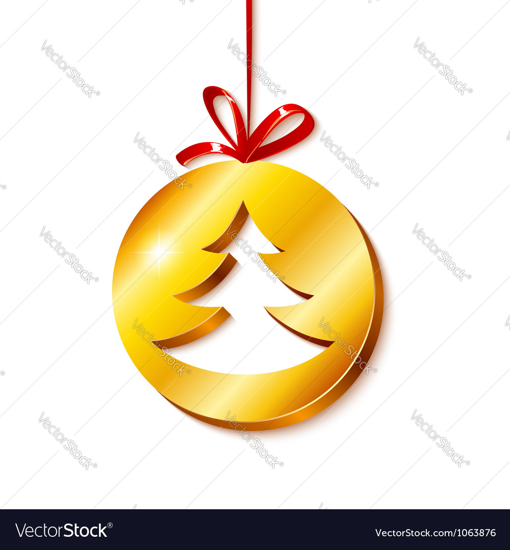 Christmas tree in golden circle vector | Price: 1 Credit (USD $1)