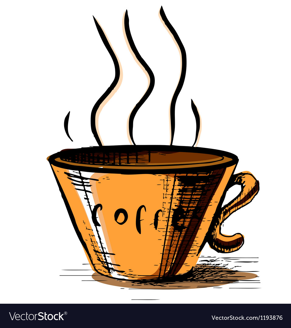 Coffee cup with steam vector   Price: 1 Credit (USD $1)