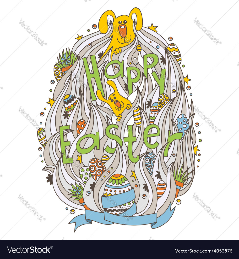 Doodled greeting card with easter symbols vector   Price: 1 Credit (USD $1)