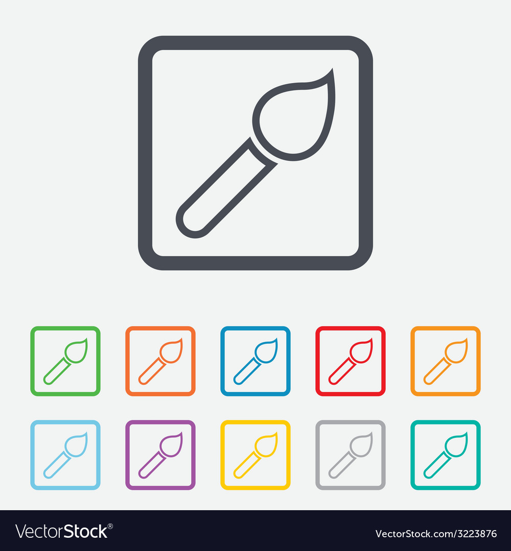 Paint brush sign icon artist symbol vector | Price: 1 Credit (USD $1)