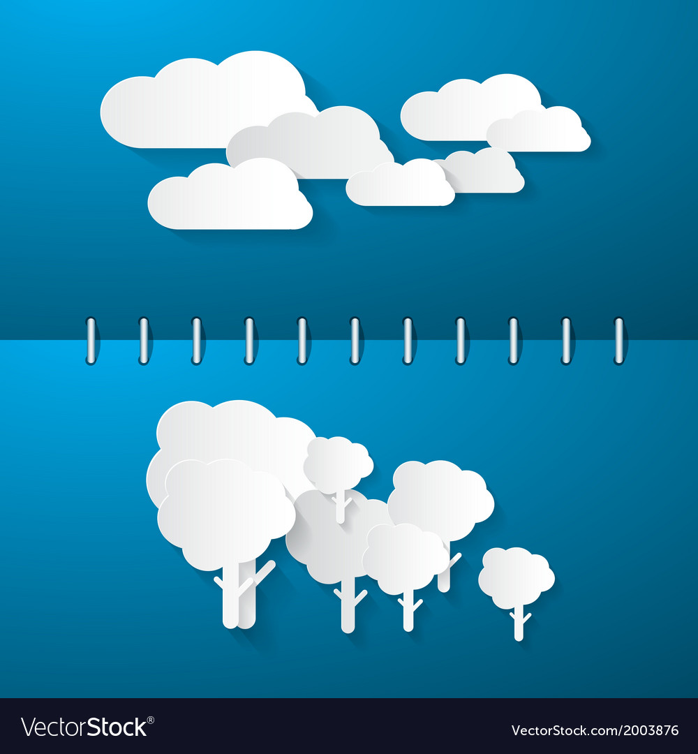 Paper clouds and trees on blue notebook background vector | Price: 1 Credit (USD $1)