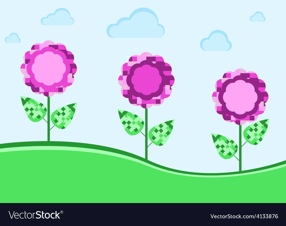 Purple flowers in the meadow vector | Price: 1 Credit (USD $1)