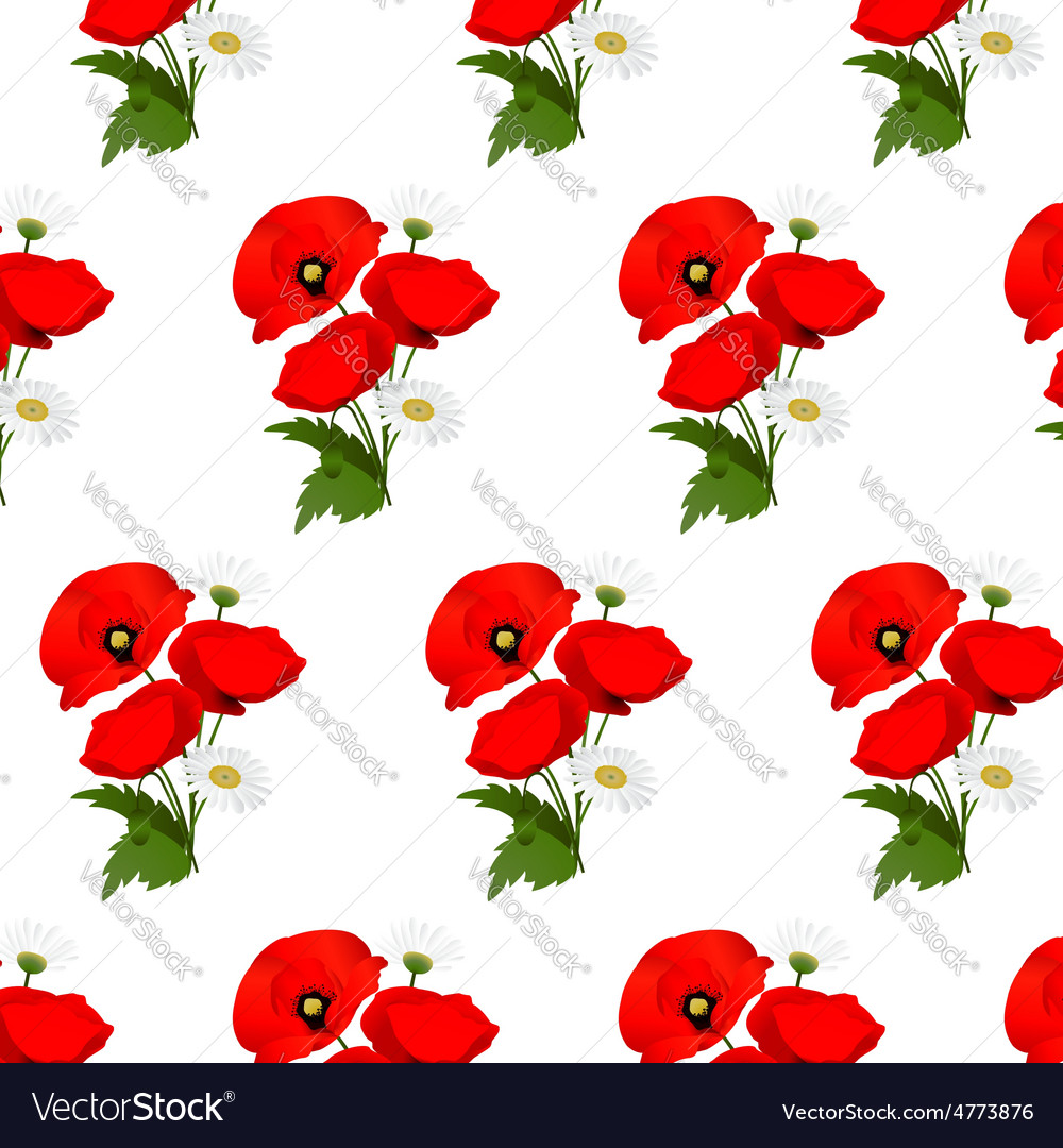 Seamless pattern with chamomile and poppies vector | Price: 1 Credit (USD $1)