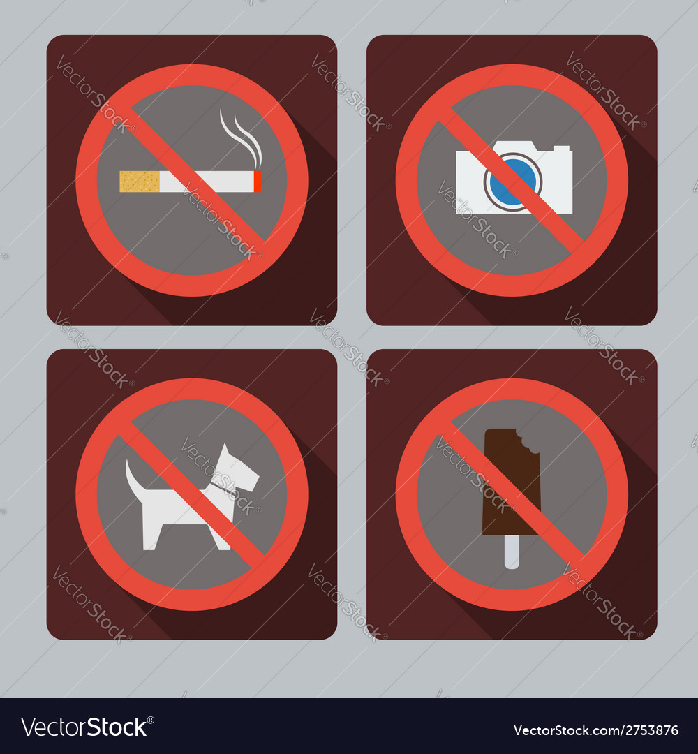 Set of prohibition signs vector | Price: 1 Credit (USD $1)
