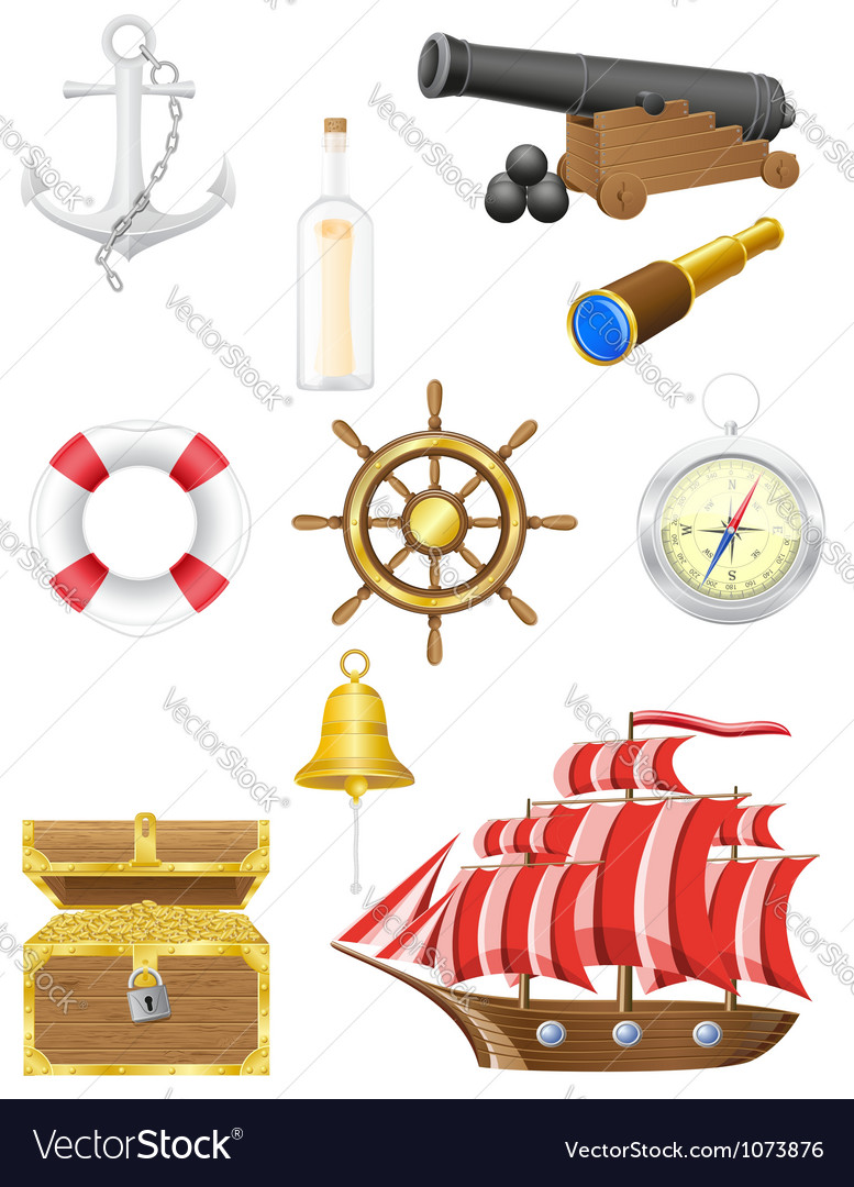 Set of sea antique icons vector | Price: 3 Credit (USD $3)