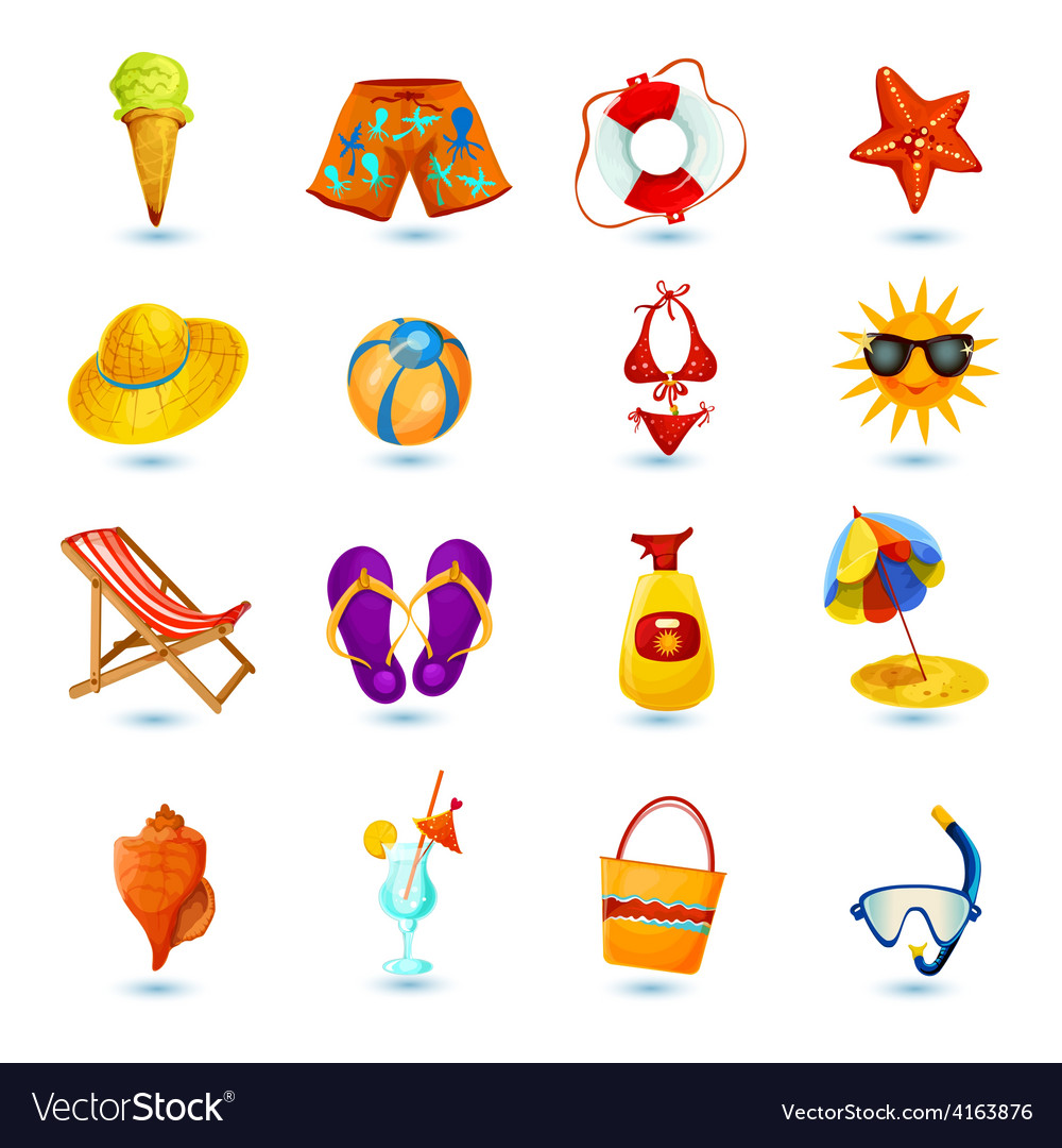 Summer holidays icon set vector | Price: 3 Credit (USD $3)