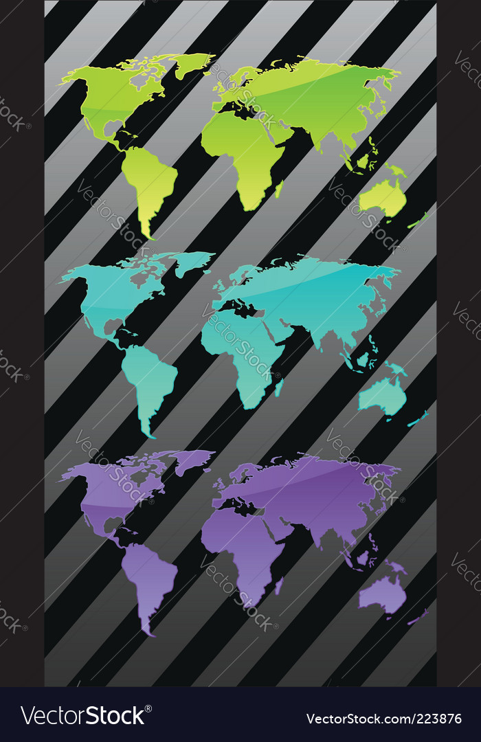 Three world maps vector | Price: 1 Credit (USD $1)