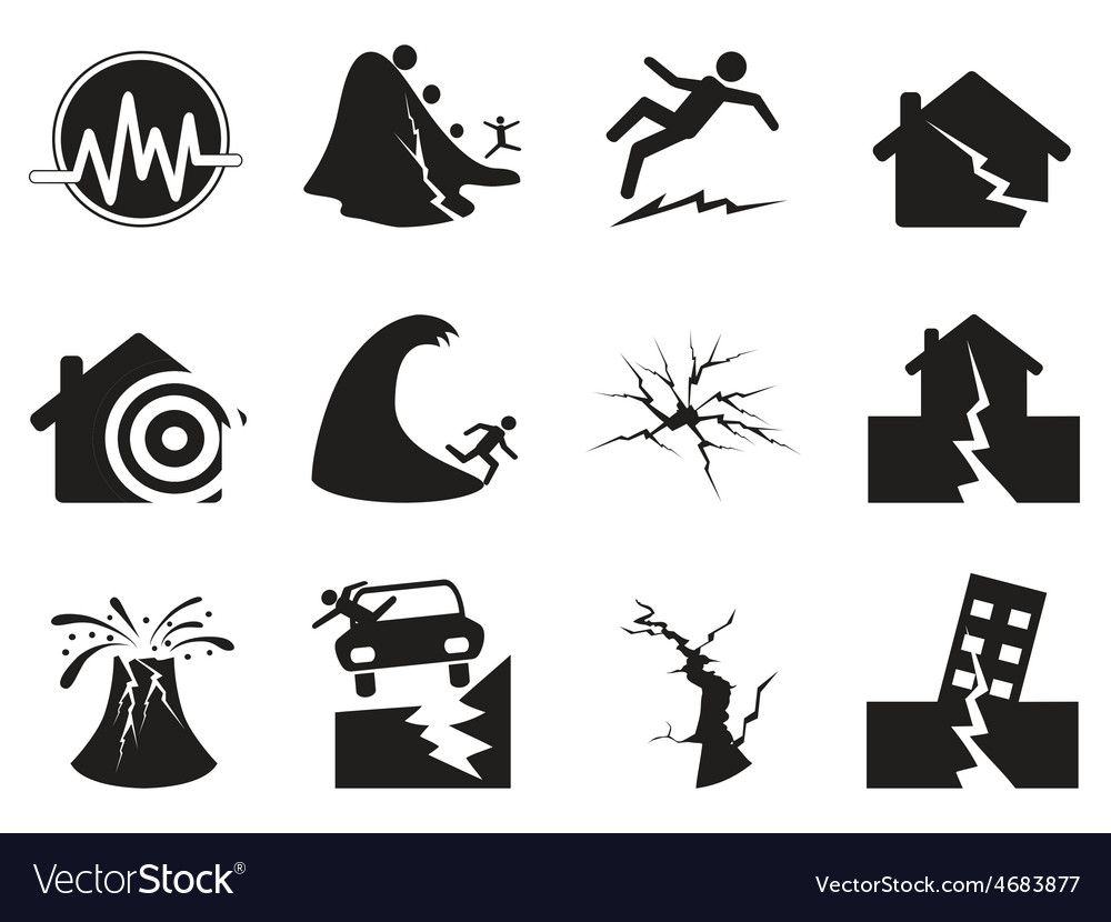 Black earthquake icons set vector | Price: 1 Credit (USD $1)