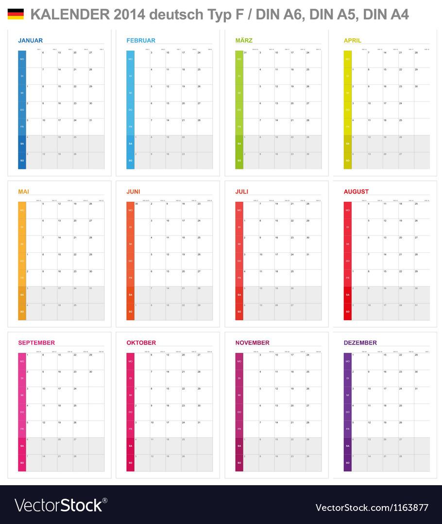 Calendar 2014 german type 6 vector | Price: 1 Credit (USD $1)