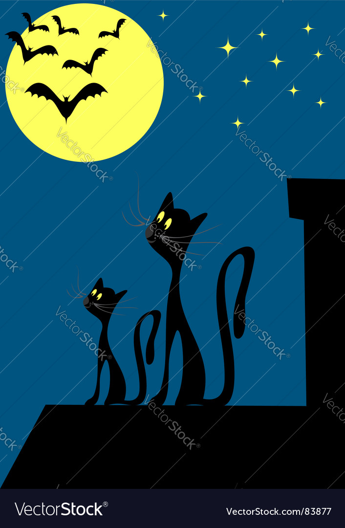 Cats on the roof vector   Price: 1 Credit (USD $1)
