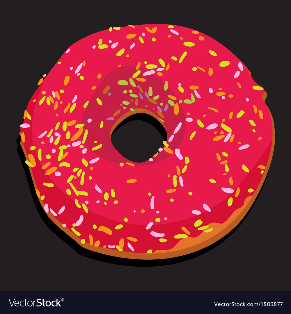 Delicious donut with colorful icing vector | Price: 1 Credit (USD $1)