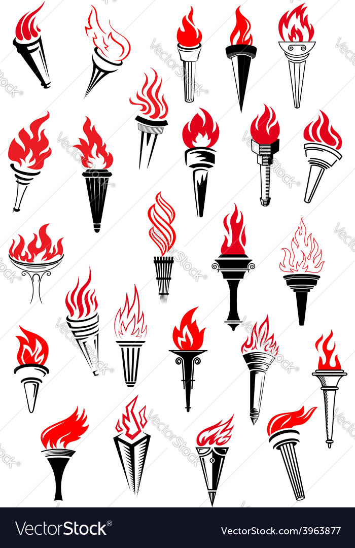 Flaming torches in vintage style vector | Price: 1 Credit (USD $1)