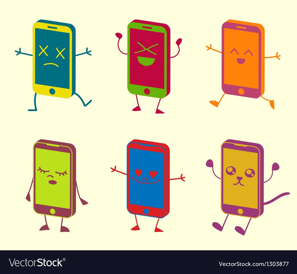 Happy cute kawaii smart phone characters vector | Price: 1 Credit (USD $1)