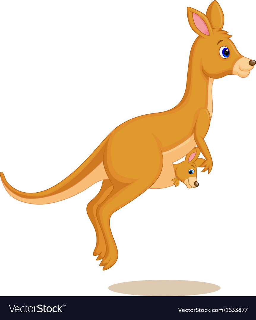 Mother and baby kangaroo cartoon vector | Price: 1 Credit (USD $1)