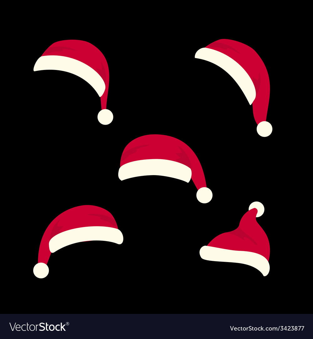 Santas hats set vector | Price: 1 Credit (USD $1)