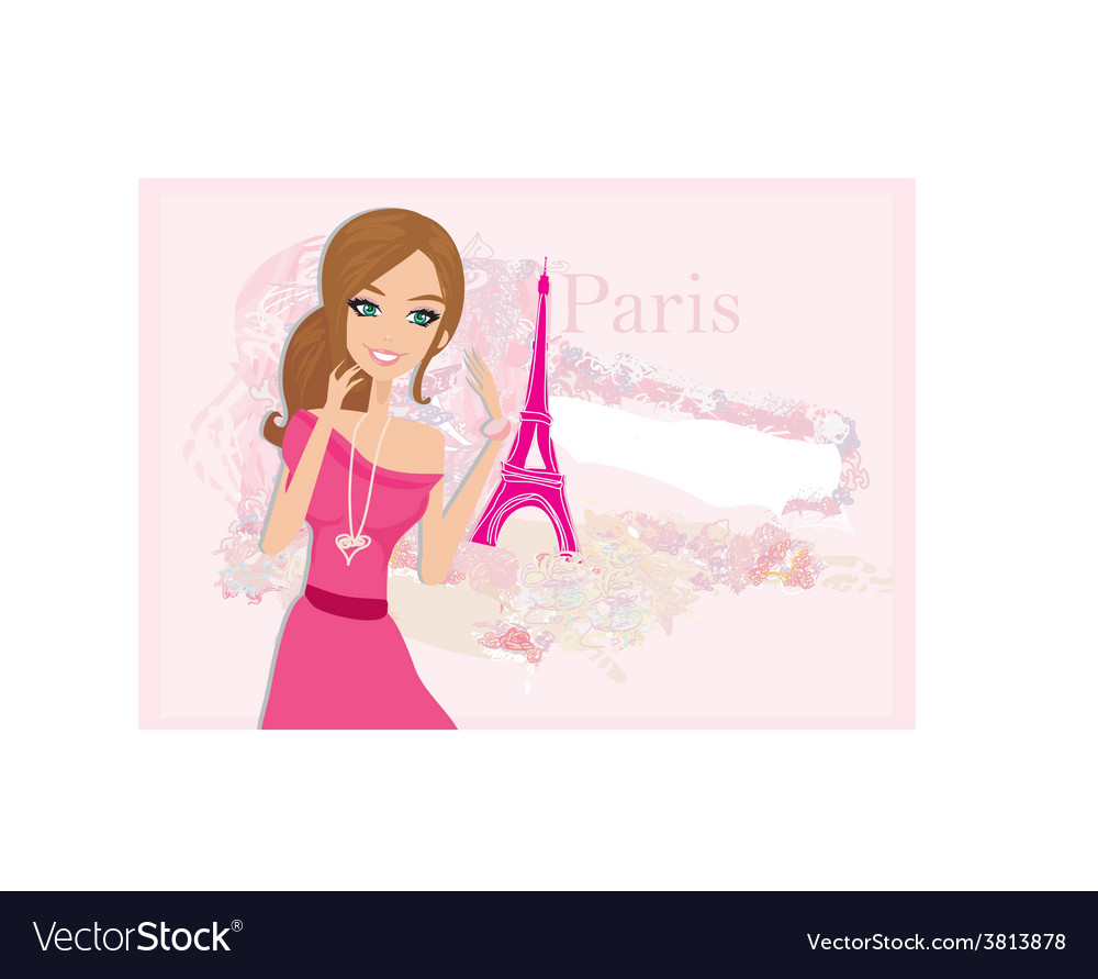 Beautiful women shopping in paris - card vector | Price: 1 Credit (USD $1)