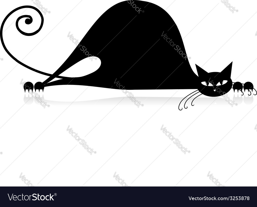 Black cat silhouette for your design vector | Price: 1 Credit (USD $1)