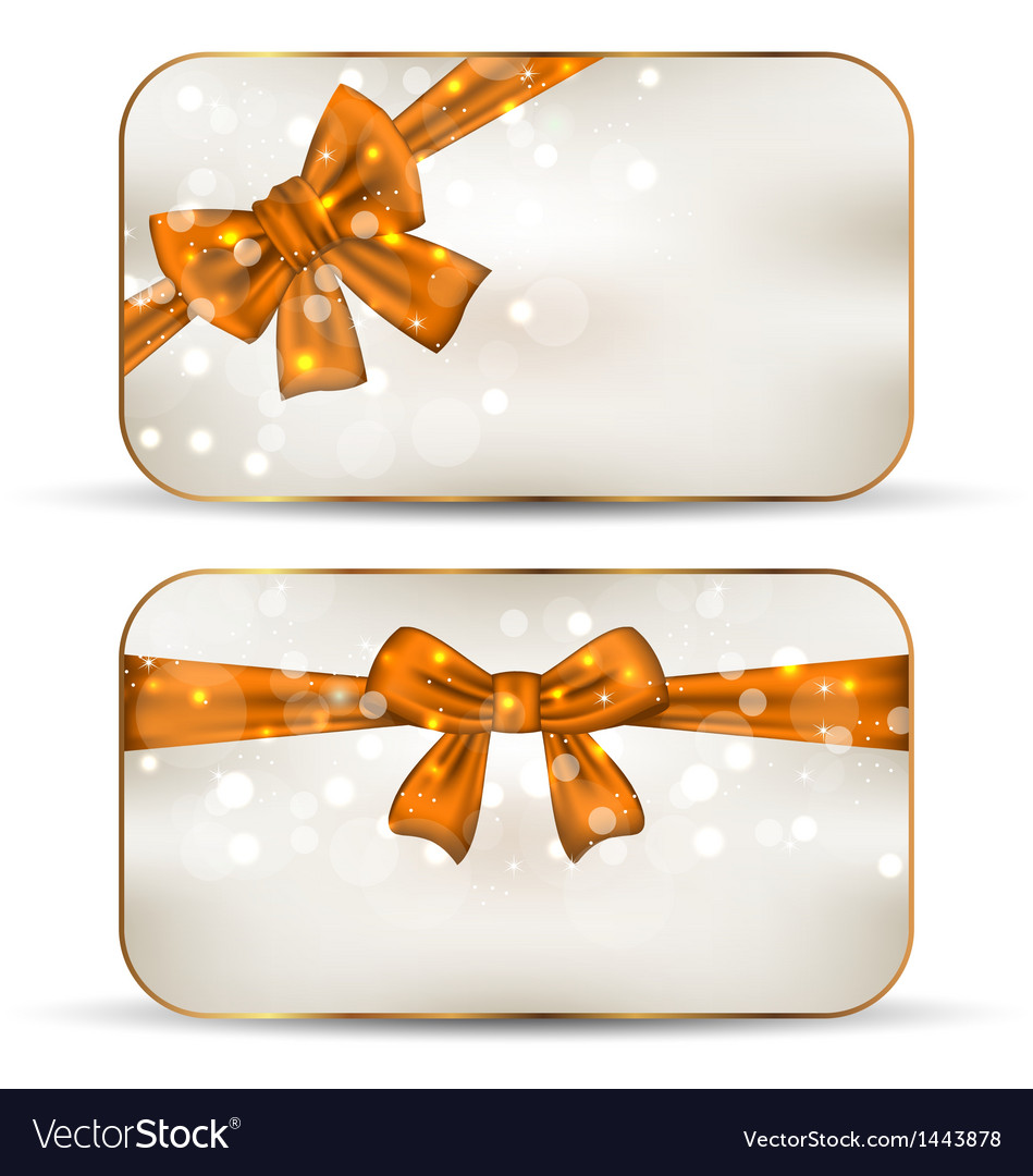 Group of beautiful cards with gift bows vector | Price: 1 Credit (USD $1)