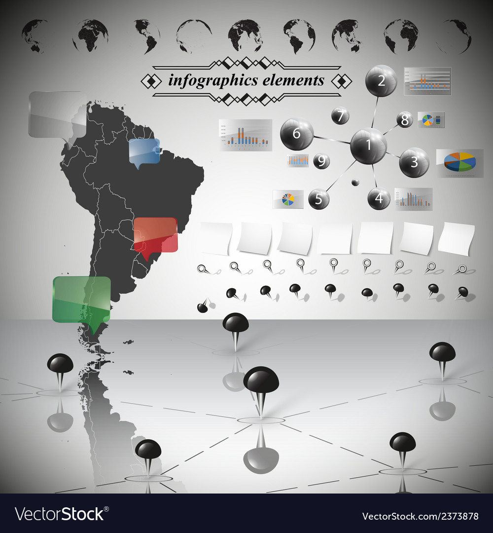 Map of south america different icons and vector | Price: 1 Credit (USD $1)