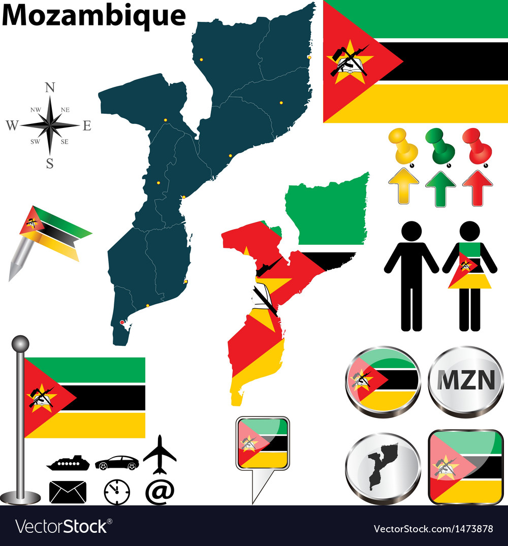 Mozambique map vector | Price: 1 Credit (USD $1)
