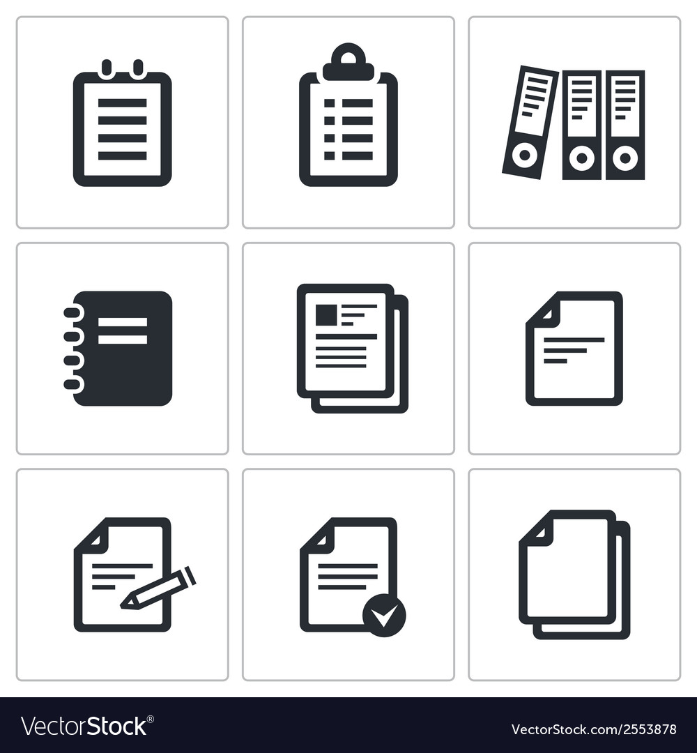 Notepad paper documents icons set vector   Price: 1 Credit (USD $1)